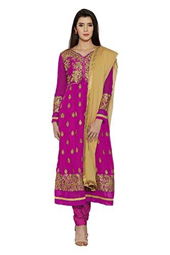 Women Stylish Pink Faux Georgette Party Wear Salwar Kameez Indian Dress Material
