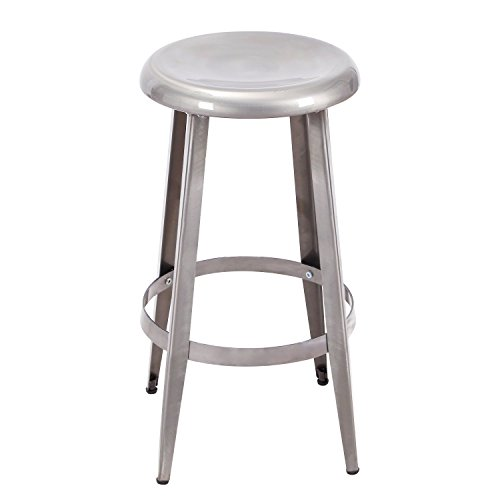 Adeco Metal Round Top Backless 26-Inch High Stools