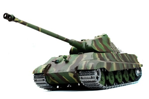 2.4Ghz 1/16 German KingTiger Porsche Turret Air Soft RC Battle Tank Smoke & Sound (Upgrade Version w/ Metal Gear & Tracks)