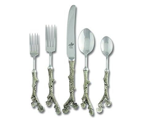 Vagabond House Pewter Acorn Flatware Set Place Setting (Set of 5 pieces) ()
