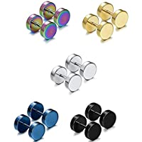 Rurah 5 Pairs Fashion Stainless Steel Cartilage Stud Earrings for Men Women Barbell Muti-color Colors Stud Earrings