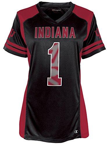 NCAA Indiana Hoosiers Kick Off Short Sleeve V-Neck Jersey, Large, True Black