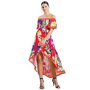 Bohemian Off Shoulder Maxi Dress – Hi Low Hem Tropical Floral Smocked Dress