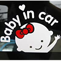 Aaron White Baby in Car (Girl) Baby Safety Sign Car Sticker, Car Decal Sticke...