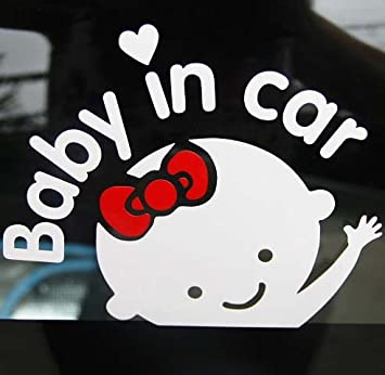 Amazoncom Aaron White Baby In Car Girl Baby Safety Sign Car - Car decal stickers for girls