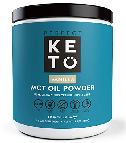 (Perfect Keto MCT Oil Powder: Ketosis Supplement (Medium Chain Triglycerides, Coconuts) for Ketone Energy. Paleo Natural Non Dairy Ketogenic Keto Coffee Creamer (Vanilla))