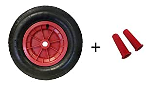 """16"""" RED Pneumatic Wheel/Replacement wheel (3.50-8) COMPLETE COMES WITH 30MM HANDLEGRIPS"""