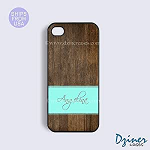 Monogram iPhone 5c Case - Wood Print Mint Stripes iPhone Cover