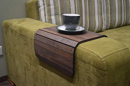 Wood Sofa Arm Tray 18x12 Inches Couch Side Table Caddy Armrest Organizer for Recliner Snack Mug Cup Holder Housewarming Gift (Alder Sofa)