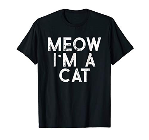 Mens Meow I'm A Cat Distressed Halloween Costume T-Shirt XL Black