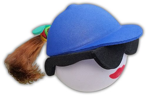 Quantity 3 pcs pack - Cool Sunglasses Brunette w Blue Hat Pony Tail - Antenna Topper / Car Antenna Ball - Brunette Sunglasses