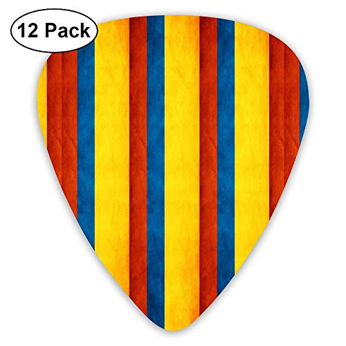 Vintage Guitar Picks Colombia Flag Map 31 12 Pack Plectrums for Bass, Electric Guitar, Acoustic Guitar, Includes Thin, Medium & Heavy Gauges
