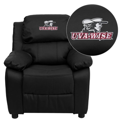 Flash Furniture Virginia College at Wise Highland Cavaliers Embroidered Black Leather Kids Recliner with Storage Arms ()