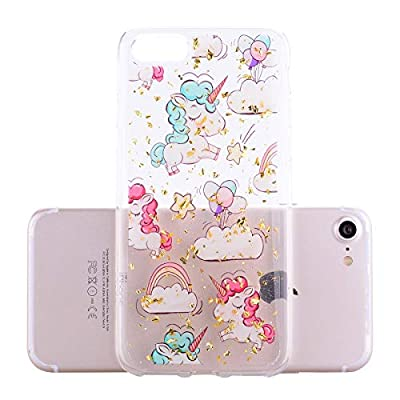 Girlyard iPhone 7 Plus Case with Screen Protector, iPhone 8 Plus Case Clear with Design Cute Animal Flowers Pattern Slim Shockproof Soft Flexible TPU Back Cover for iPhone 8/7 Plus-Cloud Horse: Electronics
