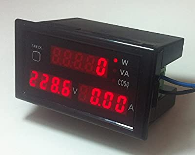 Digital Multimeter AC 80-300V 100A Volt Amp Active/Apparent Power Power Factor Meter, Amperage Voltage Tester Voltmeter Ammeter Watt Meter, Red Digital Tube Display with Current Transformer