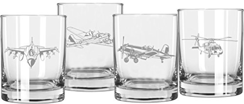 Military Aircraft Themed Whiskey Glasses - Set of 4 for sale  Delivered anywhere in USA