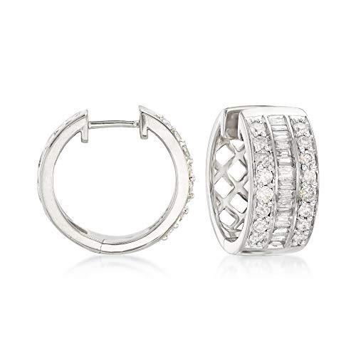 Ross-Simons 1.00 ct. t.w. Baguette and Round Diamond Hoop Earrings in Sterling Silver
