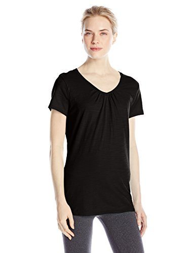 Hanes Women's Shirred V-Neck T-Shirt, Black, Large