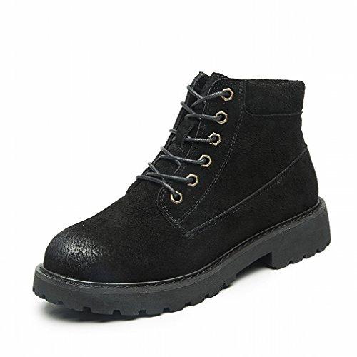 en Invierno Mujer Botas Oeste de Borran Cuero de Planas de Cortas ZH Negro Del de Mujer Botas Zapatos q8wAt