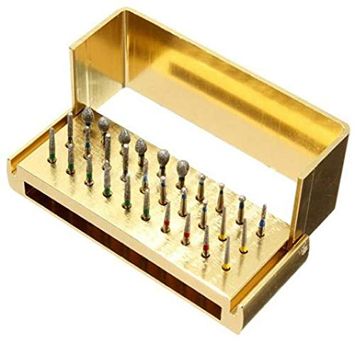 30 Pcs Dental Burs Drill + Disinfection Block High Speed Handpieces Holder Stand