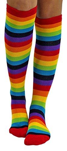 "Std Size Women (Up to 5'10"", 175 lbs) Cute Multi Colored Rainbow Knee Socks"