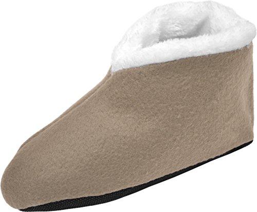 Sehr warme Norweger Hausschuhe mit Fell und ABS-Sohle für Kinder & Erwachsene Farbe Fleece/Beige Größe 39/42