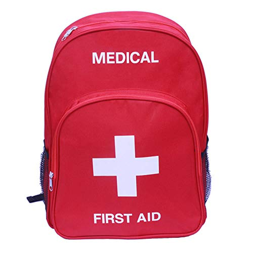 Emergency First Aid Bag - Empty Medical Emergency Backpack Survival First Aid Kit Back Pack First Responder Rescue AED Bag for Daycare,Childcare,Scout Troop,Trip,Car,Home,Kid,Toddler,Classroom (Red)