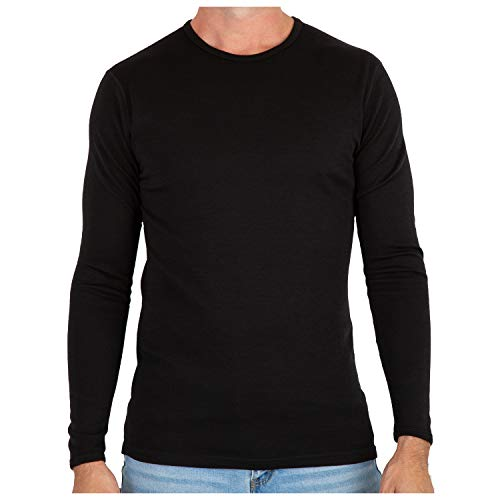 Thermal Wool T-shirt - MERIWOOL Men's Merino Wool Midweight Baselayer Crew - Black/M