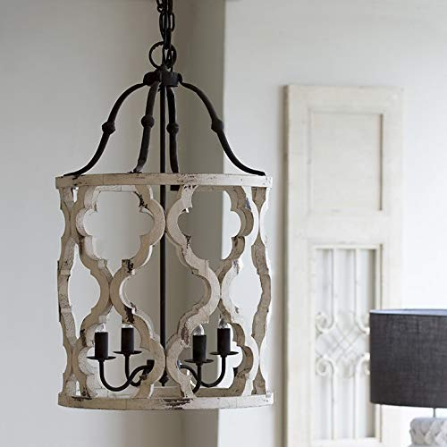 - Jiuzhuo Vintage Distressed White Carved Wood 4-Light Lantern Farmhouse Chandelier Lighting Hanging Ceiling Fixture in Rust