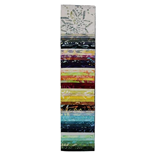 (Timeless Treasures Judy Niemeyer Montana Sapphire Tonga Batiks Sunset 48 Pc 2.5 Inch Strips )