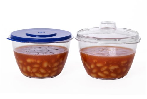 Easy Cook 2 Microwave Mini Pots, Clear
