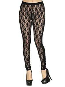 Sexy Black Floral Lace Combination Stretchy Leggings Tights Pants Clubwear