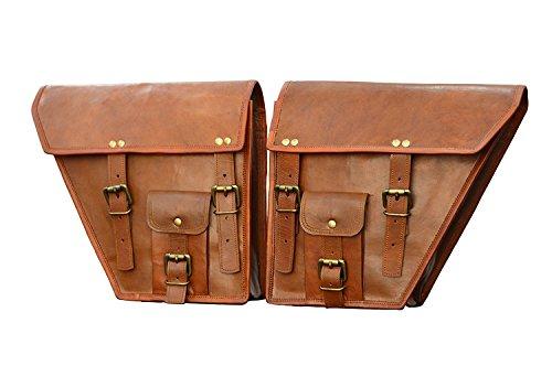 Leather Genuine Saddlebag Motorcycle (LBH 2 X Motorcycle Side Pouch Brown Leather Side Pouch Classic Saddlebags Saddle Panniers (2 Bags) Summer Sale!`)