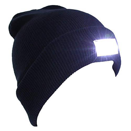 EZGO 5 LED Hands Free Unisex Lighted Beanie Power Stocking Cap/Hat, Perfect Hands Free Flashlight for Hunting, Camping, Grilling, on/off Switch Hidden in the Cap, Black