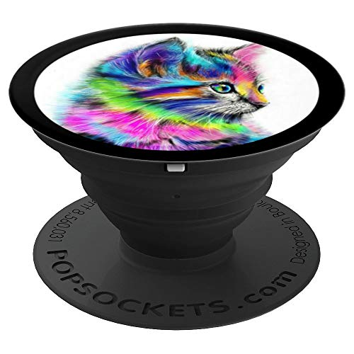 Cat Colorful (Cute Cat Face - colorful kitten - PopSockets Grip and Stand for Phones and Tablets)