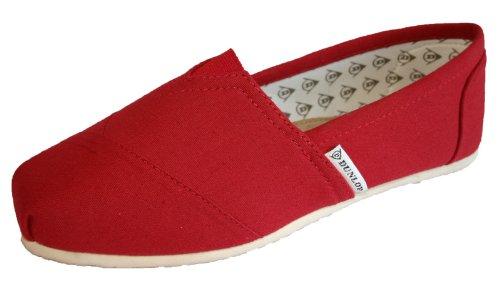 Dunlop en 5 Pointure Espadrilles toile pour 35 Poppy femme 42 Red Rouge rgrnxW