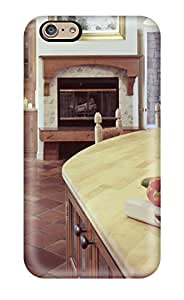 Iphone 6 Case Slim [ultra Fit] Fireplace-centered Shot Of Wood Kitchen Bar And Dining Room With Burnt Tile Floor Protective Case Cover
