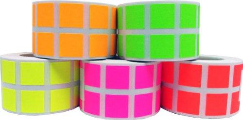 "Free 1/2"" Color Coding Labels Fluorescent Bulk Half Inch Square - 1 Roll Each: Fl Green, Fl Red, Fl Yellow, Fl Pink, Fl Orange - 5,000 Total Stickers"