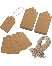 SallyFashion Kraft Paper Tags, 600 PCS Craft Hang Tags with Free 600 PCS Natural Jute Twine for Gifts Arts and Crafts Wedding Holiday