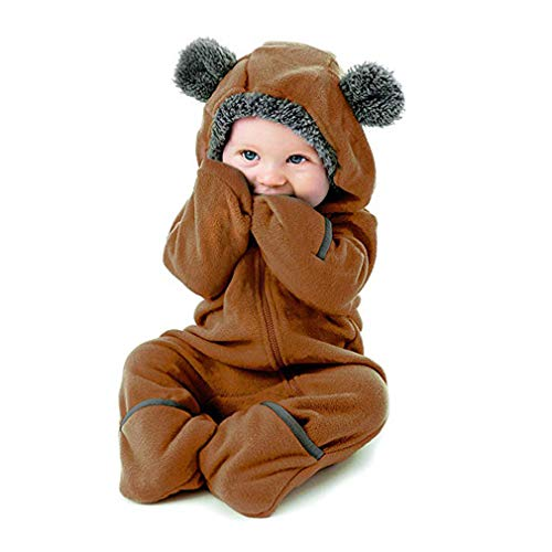 VILOVE Newborn Infant Unisex Baby 3D Cartoon Bear Hooded Jumpsuit Winter Warm Fleece Windproof Romper Cosplay Outftis Size 0-3 Months/Tag 60 (Brown) (Suit Fleece Romper)
