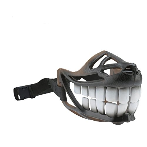 Dog Muzzle WEREWOLF Unique Design with Adjustable Metal Buckle and Unti-biting & Chewing for Small Medium and Large Dogs-Smile & Sharp (New Smile, M)