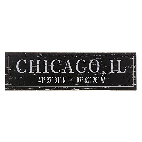 Barnyard Designs Chicago, IL City Sign Rustic Distressed Decorative Wood Wall Decor 17