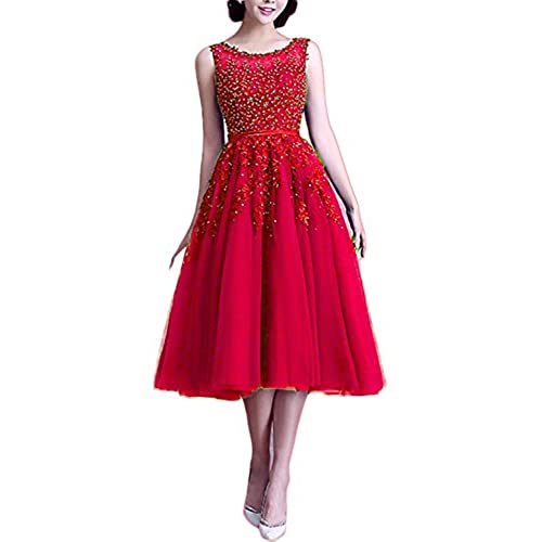 Women's Red Tulle Formal Tea Length Dress: Amazon.com