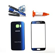 (md0410) Galaxy S6 EDGE OEM Black Sapphire Blue Front Outer Glass Lens Screen Back Glass Battery Door Housing Cover UV LOCA Glue Adhesive Full LCD Digitizer Repair Kit Replacement G925