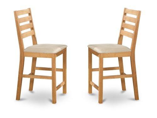 Swivel Natural Stool Oak Pub - East West Furniture CFS-OAK-C Counter Height Chair Set with Cushion Seat, Natural Oak Finish, Set of 2