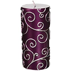 Zest Candle Pillar Candle, 3 by 6-Inch, Purple Scr
