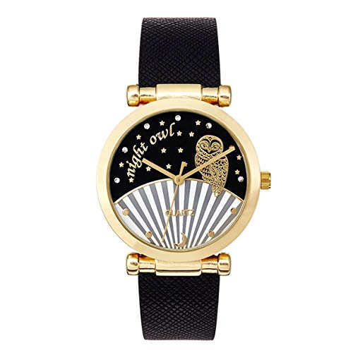 ~ Cassara ~ Reloj de la Historia del Tiempo ~ Owl ~ Hermoso Reloj Negro para Mujer: Amazon.es: Relojes
