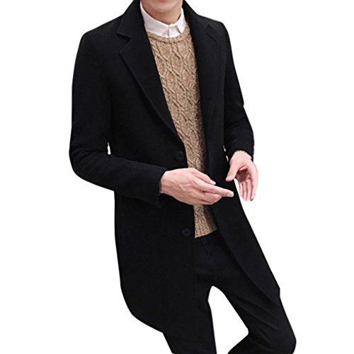 Forthery Winter Clearance Men's Trench Coat Winter Long Jacket Double Breasted Overcoat (Black, Tag XXL= US XL)