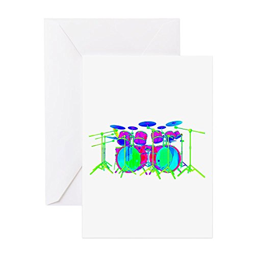 (CafePress - Colorful Drum Kit Greeting Cards - Greeting Card, Note Card, Birthday Card, Blank Inside Matte)