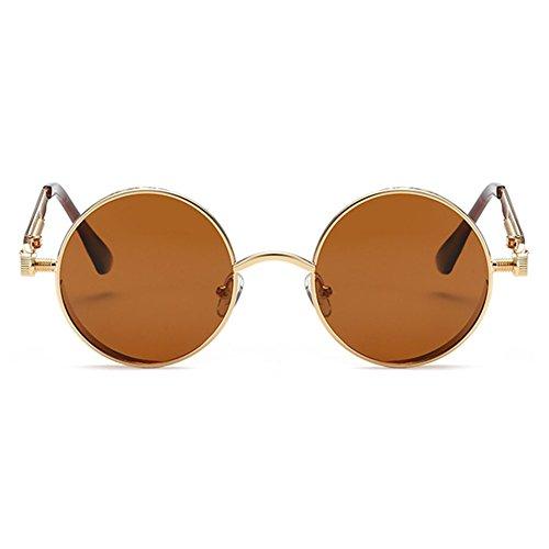de Steampunk Highdas Polarized hombres sol Round Oro Metal Retro Circle Mujer Gafas T¨¦ Estilo 8qwqAZ
